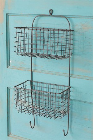 Two Tiered Wire Basket With Hooks