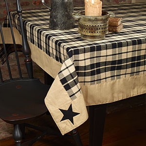 "60 x 90"" Black Farmhouse Star Tablecloth"