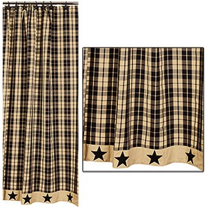 "Black Farmhouse Star Shower Curtain (72x72"")"