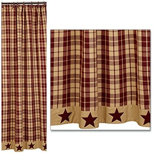 "Burgundy Farmhouse Star Shower Curtain (72x72"")"