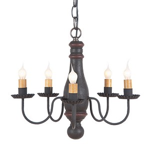 Bed & Breakfast Chandelier in Hartford Blk w/Red Stripe