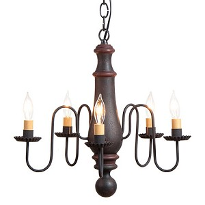 Med Norfolk Chandelier in Hartford Blk w/Rd Stripe