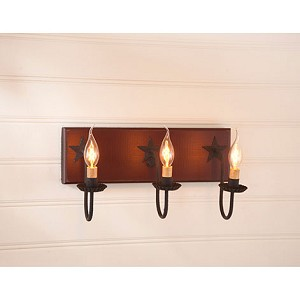 Three Arm Vanity Light w/Stars in Sturbridge Red