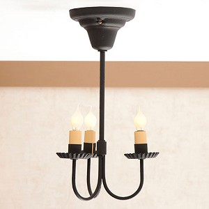 Small 3-Arm Primitive Ceiling Light in Textured Blk