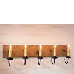 Five Arm Vanity Light in Pearwood