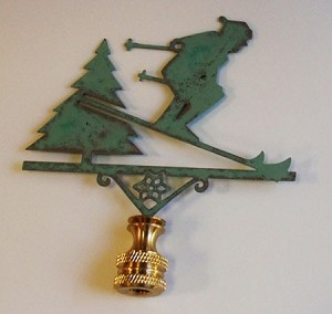 Downhill Skier Lamp Finial