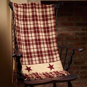 "Burgundy Farmhouse Star Throw (50x60"")"