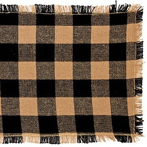 "36"" Black Check Cotton Burlap Runner"
