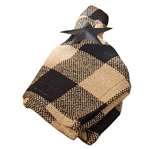 "Black Check Cotton Burlap Napkin (18x18"")"