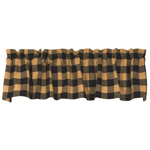 "Black Check Cotton Burlap Valance (72x14"")"