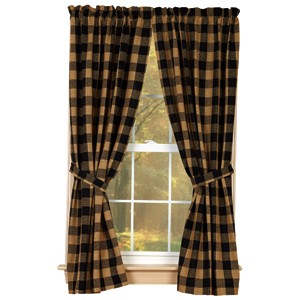 "Black Check Cotton Burlap 63"" Panels (72x63"")"