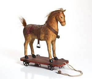 Brown Mache Horse Pull Toy