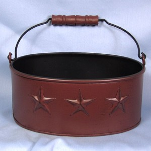 Oval Tin with Stars and Handle Red