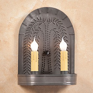 Double Sconce with Willow in Blackened Tin