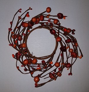 Mini Pumpkin and Rice Berry Candle Ring 3 1/2""
