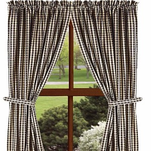 "Heritage House Check Drapery Panels 84"" Black"