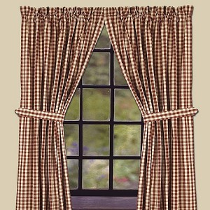 "Heritage House Check Drapery Panels 84"" Barn Red"