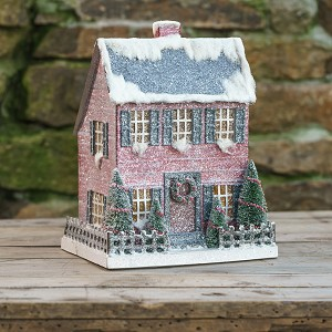 LIGHTED LARGE RED SALTBOX