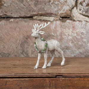 STANDING DEER WITH WREATH