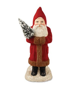 "Red Flocked 12"" Belsnickel With Tree"