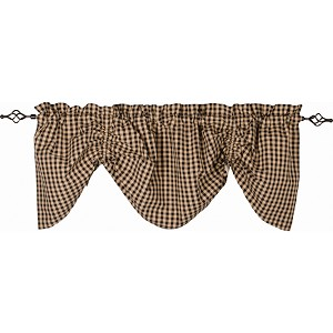Heritage House Check Gathered Valance Black - Nutmeg