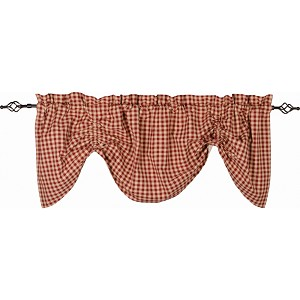 Heritage House Check Gathered Valance Barn Red - Nutmeg