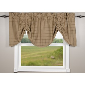 Alexander Check Oat-Black Gathered Valance
