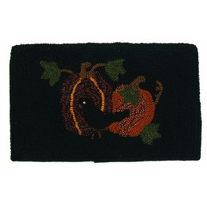 Olde Crow and Pumpkins Wall Hanging Hooked Wool
