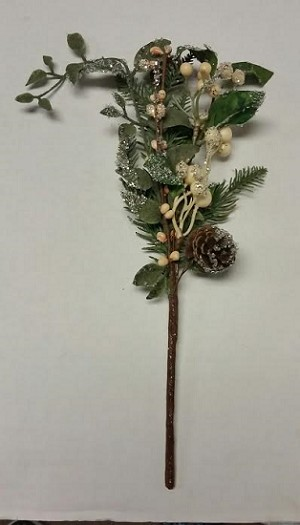 Small Iced Pine Pick with White Berries