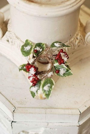 Christmas Berry Holly Candle Ring | 7""