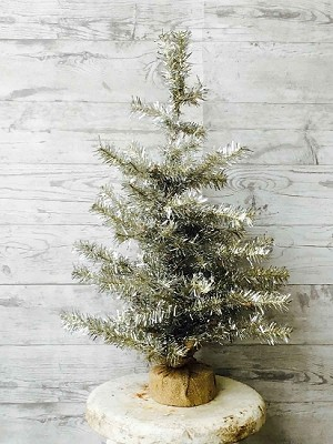 Silver Tree with Burlap & Clear Lights | 24""