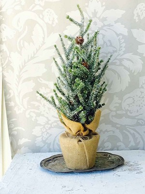 Glittered Pine Tree with Burlap Stand | Small