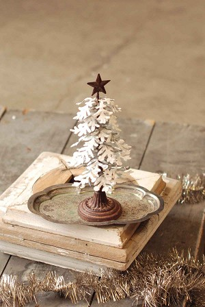 Snowy Metal Tree | Galvanized | Small