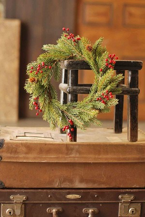White Spruce w/ Berries Candle Ring | 11""