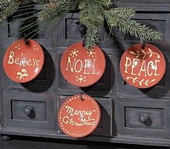 Pottery Ornaments Set of 4