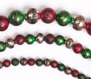 Red Green And Silver Aged Bead Garland
