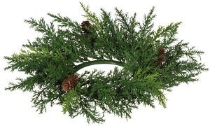 "ARBORVITAE 4.25"" CANDLE RING GREEN"
