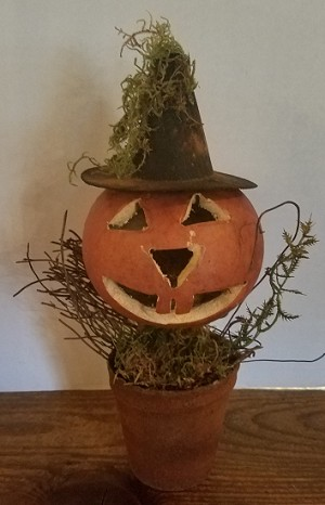 Small Jack-O-Lantern Gourd with Witch Hat