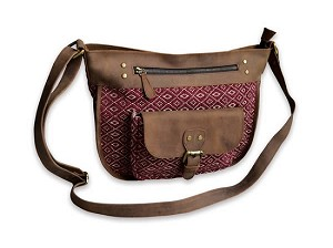 RED/TAN JACQUARD & LEATHER SATCHEL
