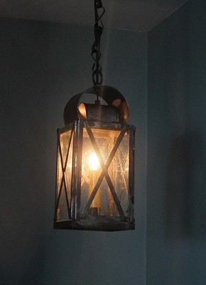 Tin Hanging Lantern with Cross Bars