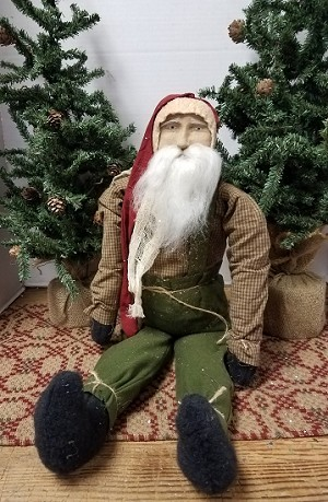 Sitting Santa with Green Overalls
