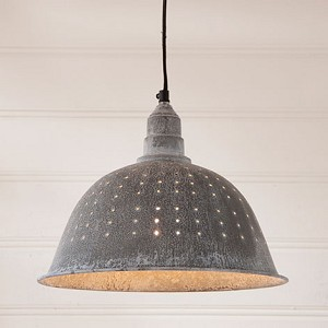 Colander Pendant Light in Weathered Zinc