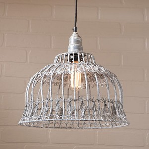 Flower Industrial Cage Pendant in Weathered Zinc