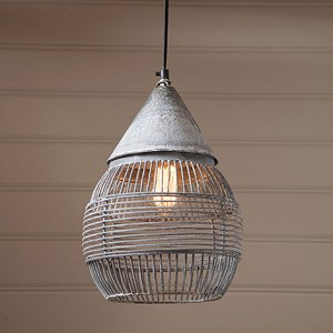 Large Retro Cage Light in Weathered Zinc