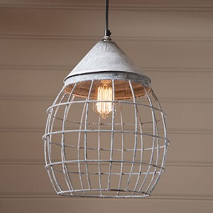 Large Farmhouse Cage Light in Weathered Zinc