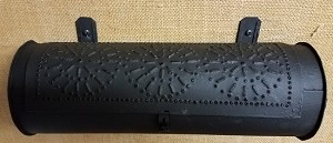 Punched Tin Candle Box in Textured Black
