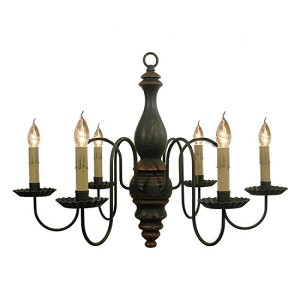 Anderson Chandelier in Black Crackle Over Spicy Mustard with Barn Red Trim