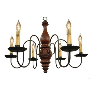 Anderson Chandelier in Barn Red Crackle Over Black