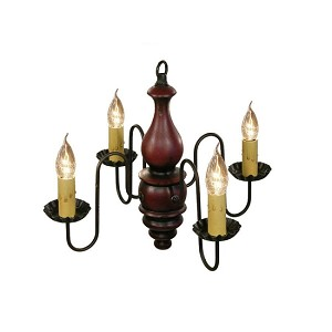 Abigail Chandelier in Black Rub Over Barn Red