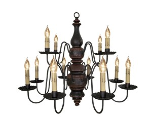 Charleston Chandelier Black Crackle over Spicy Mustard with Barn Red Trim